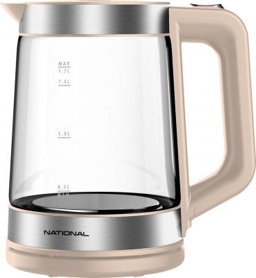 Чайник NATIONAL NK-KE17321, закрытый нагревательный элемент, объем 1,7 л, мощность 2200 Вт, стекло, бежевый