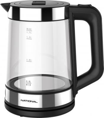 Чайник NATIONAL NK-KE17322, закрытый нагревательный элемент, объем 1,7 л, мощность 2200 Вт, стекло, черный