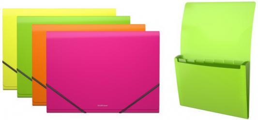 """Папка на резинках ERICH KRAUSE """"Glance Neon"""", А4, 6 отделений, до 300 листов, 600 мкм, ассорти, 43122 erich krause папка на резинках arlecchino формат a5"""