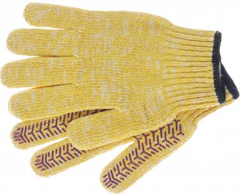 Перчатки трикотажные усиленные, гелевое ПВХ-покрытие, 7 класс, желтые, Россия// Сибртех