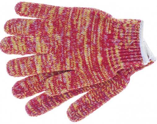 Перчатки трикотажные усиленные, гелевое ПВХ-покрытие, 7 класс,красно-желтый меланж, Россия// Сибртех