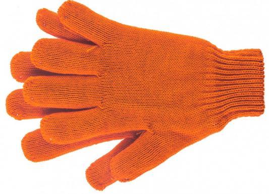 Перчатки трикотажные, акрил, двойные, цвет: оранжевый, двойная манжета, Россия// Сибртех