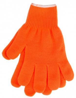 Перчатки трикотажные, акрил, цвет: оранжевый, оверлок, Россия// СИБРТЕХ