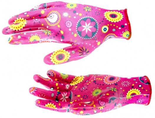 Перчатки садовые из полиэстера с нитрильным обливом, красные, M// Palisad