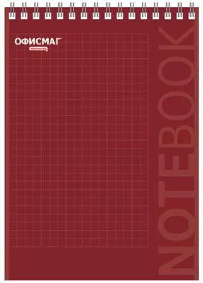 Блокнот А5, 80 листов, гребень, жесткая подложка, клетка, ОФИСМАГ, Красный, 146х206 мм, 129869
