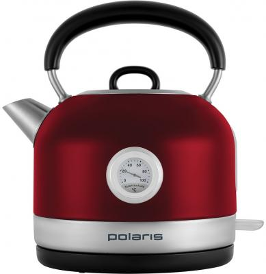 Чайник электрический Polaris PWK 1769CA Retro 1.7л. 2200Вт красный/серебристый (корпус: нержавеющая сталь) чайник электрический polaris pwk 1719cgl 2200вт серебристый