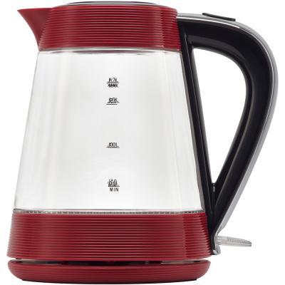 Чайник электрический Polaris PWK 1735CGL 1.7л. 2000Вт красный/черный (корпус: стекло)