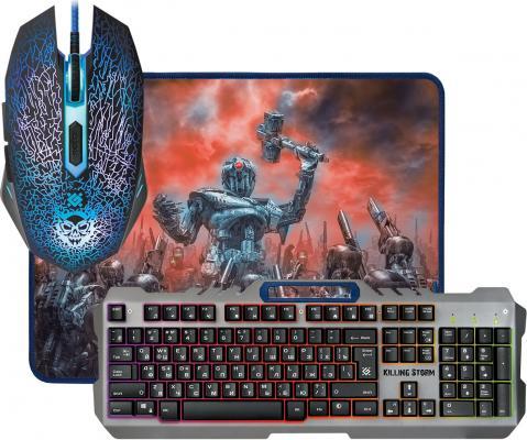 Клавиатура проводная Defender Killing Storm MKP-013L RU USB черный серый Мышь+ Клавиатура + Ковер (52013)