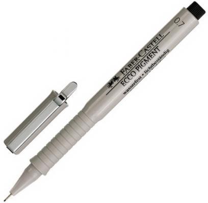 Ручка капиллярная FABER-CASTELL Ecco Pigment, ЧЕРНАЯ, корпус серый, линия письма 0,7 мм, 166799 ручка капиллярная faber castell grip finepen синяя трехгранная корпус черный 0 4 мм 151651