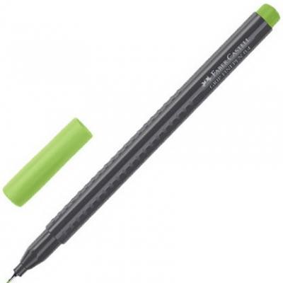 Ручка капиллярная FABER-CASTELL Grip Finepen, СВЕТЛО-ЗЕЛЕНАЯ, трехгранная, корпус черный, 0,4 мм, 151666 ручка капиллярная faber castell grip finepen синяя трехгранная корпус черный 0 4 мм 151651