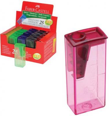 Фото - Точилка FABER-CASTELL, с контейнером, прямоугольная, пластиковая, детали флуоресцентные, ассорти, 581525 точилка brauberg diamond dual с контейнером пластиковая овальная 2 отверстия цвет ассорти 226941