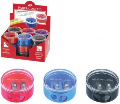 Фото - Точилка FABER-CASTELL, 2 отверстия, с контейнером, круглая, пластиковая, красная/синяя, 185418 точилка brauberg diamond dual с контейнером пластиковая овальная 2 отверстия цвет ассорти 226941