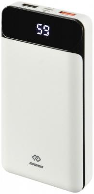 Мобильный аккумулятор Digma Power Delivery DG-20000-PL-W Li-Pol 20000mAh 3A+3A белый 2xUSB мобильный аккумулятор hiper mpx20000 li pol 20000mah 3a 3a 2 4a серый 2xusb