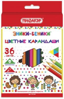 Карандаши цветные ПИФАГОР ЭНИКИ-БЕНИКИ, 36 цветов, классические заточенные, 181349 карандаши цветные пифагор эники беники 12 цветов классические заточенные 181346