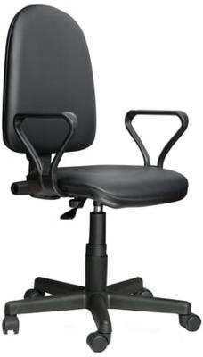 Кресло Престиж, регулируемая спинка, с подлокотниками, кожзам, черное