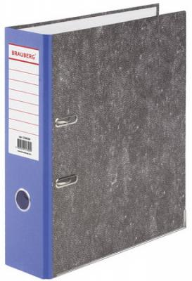 Папка-регистратор BRAUBERG, усиленный корешок, мраморное покрытие, 80 мм, с уголком, синяя