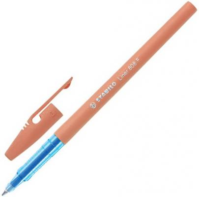 Ручка шариковая STABILO Liner Pastel, СИНЯЯ, корпус персиковый, узел 0,7 мм, линия письма 0,3 мм, 808FP1041-3 ручка шариковая stabilo marathon синяя