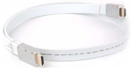 Кабель HDMI 1м AOpen ACG568F-S-1M плоский белый/серебристый