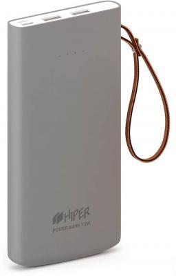 Аккумулятор HIPER Внешний аккумулятор HIPER TRAVEL10K Li-Pol 10000 mAh Soft-touch 3A+3A 2xUSB 1xType-C серый аккумулятор hiper psl18000