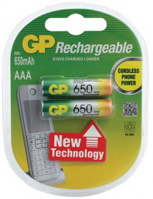 Батарейки аккумуляторные GP, AAA, Ni-Mh, 650 mAh, комплект 2 шт., в блистере, 65АAАНС-UC2 цена и фото