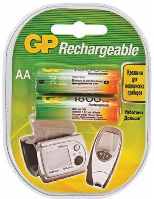 Батарейки аккумуляторные GP, АА, Ni-Mh, 1800 mAh, комплект 2 шт., в блистере, 180AAHC-2DECRC2 цена и фото
