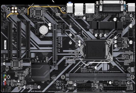 Материнская плата GigaByte H310 D3 2.0 Socket 1151 v2 H310 2xDDR4 1xPCI-E 16x 3xPCI 2xPCI-E 1x 4 ATX Retail