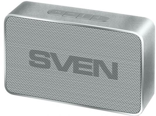 SVEN PS-85, серебро, акустическая система (1.0, мощность 5 Вт (RMS), Bluetooth, FM-тюнер, USB, microSD, встроенный аккумулятор) радиоприемник sven srp 445 черный 3 вт fm am usb microsd встроенный аккумулятор