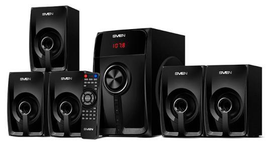 SVEN HT-202, черный, акустическая система 5.1 (мощность (RMS):20Вт+5x16Вт, Bluetooth, FM-тюнер, USB/SD, дисплей, пульт ДУ)