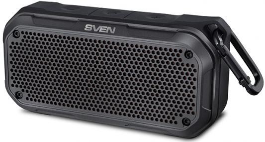 SVEN PS-240, черный, акустическая система (2.0, мощность 2x6 Вт (RMS), Waterproof (IPx7), TWS, Bluetooth, microSD, карабин, встроенный аккумулятор)