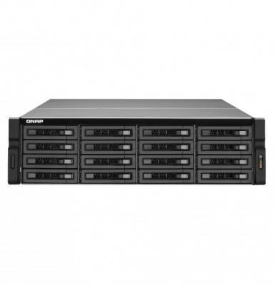 SMB QNAP TS-1683XU-RP-E2124-16G 16-Bay NAS (16x 2.5/3.5 SATA HDD/SSD), Intel Xeon E-2124 4-core 3.3 GHz (up to 4.3 GHz), 16 GB DDR4 ECC RAM (2 x 8GB) up to 64 GB ( 4 x 16 GB), 4x GbE LAN, 2 x 10GbE SFP+, rackmount 3U, 2xPSU. W/o rail kit RAIL-A03-57