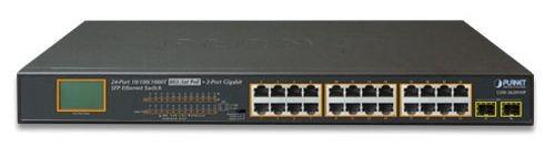 Фото - 24-Port 10/100/1000T 802.3at PoE + 2-Port 1000SX SFP Gigabit Switch with LCD PoE Monitor (300W PoE Budget, Standard/VLAN/Extend mode) 24 ports poe switch with 2 gigabit sfp port 400w poe switch 24 port full gigabit switch