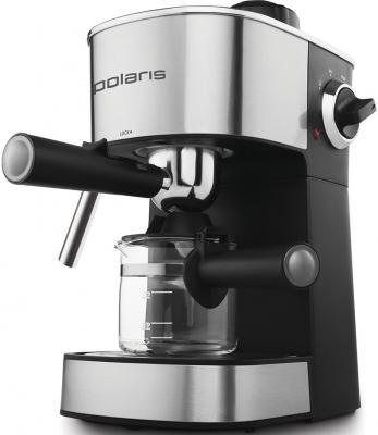 Кофеварка эспрессо Polaris PCM 4008AL 800Вт нержавеющая сталь/черный