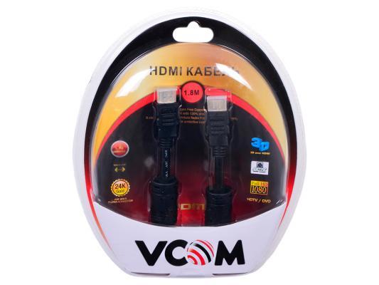 Кабель Vcom HDMI 19M/M ver:1.4-3D, 1,8m, позолоченные контакты, 2 фильтра <VHD6020D-1.8MB> Blister переходник aopen hdmi dvi d позолоченные контакты aca311