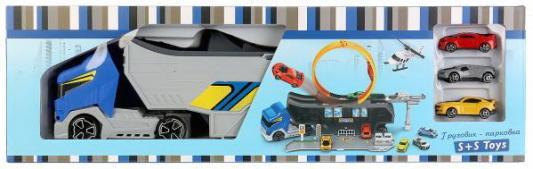 Купить Машина трейлер-парковка, с устройством для запуска, с 3 машинками в русс. кор. в кор.2*12шт, S+S TOYS, разноцветный, Детские модели машинок