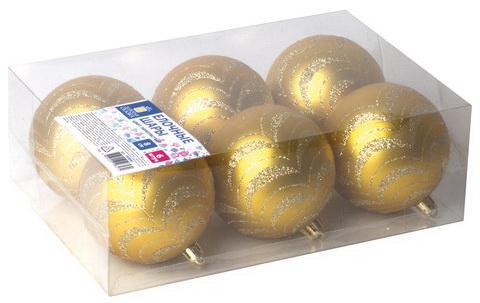 Шары елочные ЗОЛОТАЯ СКАЗКА, НАБОР 6 шт., пластик, 8 см, с золотистым рисунком, цвет золотистый, 590890