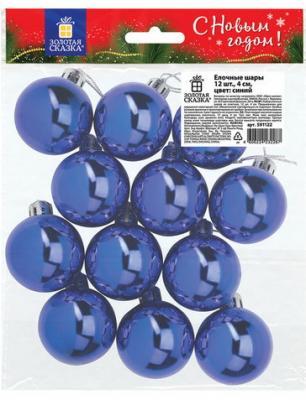 Шары елочные ЗОЛОТАЯ СКАЗКА, НАБОР 12 шт., пластик, 4 см, СИНИЕ, глянец, подвес, 591122 исследовательский набор огненные шары