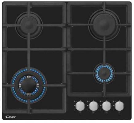 Газ на стекле. 60 сантиметров. Цвет: черный. Ручки: Smart. Газ-контроль. Автоматический электроподжиг. 4 конфорки: двойная корона 3,5 кВт (Wok), быстрая 2,9 кВт, полубыстрая 1,7 и вспомогательная 0,95 кВт. 2 чугунных решетки. Цельноштампованная поверхность. Мощность 9,05