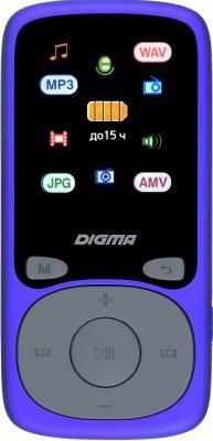 Плеер Hi-Fi Flash Digma B4 8Gb синий/1.8/FM/microSDHC mp3 плеер digma b3 8gb синий