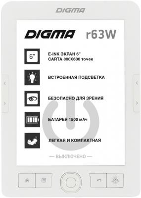 "лучшая цена Электронная книга Digma E63W 6"" E-Ink Carta 800x600 600MHz/4Gb/microSDHC белый"