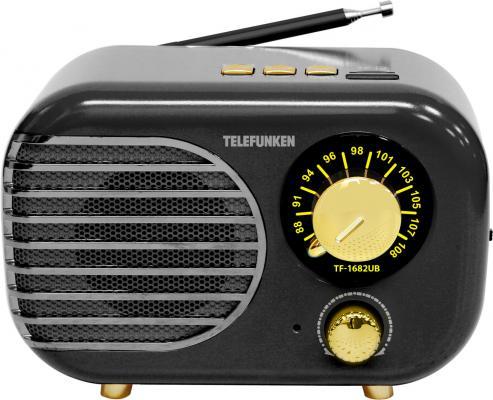Радиоприемник настольный Telefunken TF-1682UB черный/золотистый USB microSD радиоприёмник telefunken tf 1682b черный золотистый