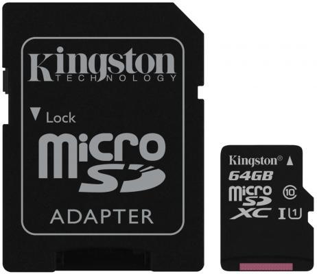 Фото - Micro SecureDigital 64Gb Kingston SDCS2/64GB {MicroSDHC Class 10 UHS-I, SD adapter} карта памяти micro securedigital 128gb kingston canvas select plus sdxc class 10 uhs i sdcs2 128gb sd adapter