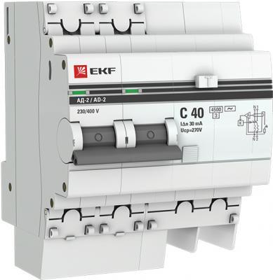 EKF DA2-40-30-pro Дифференциальный автомат АД-2 40А/30мА (хар. C, AC, электронный, защита 270В) 4,5кА EKF PROxima