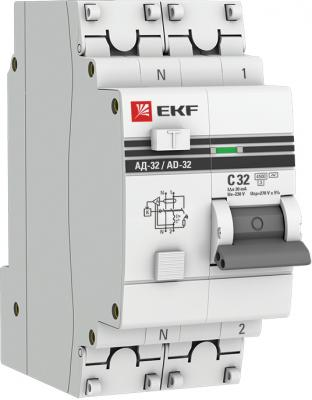 EKF DA32-32-30-pro Дифференциальный автомат АД-32 1P+N 32А/30мА (хар. C, AC, электронный, защита 270В) 4,5кА EKF PROxima