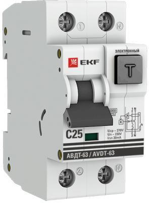 EKF DA63-25-30e Дифференциальный автомат АВДТ-63 25А/30мА (хар-ка C, электронный тип A) 6кА EKF PROxima