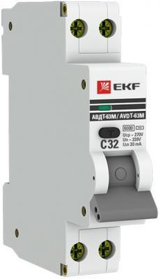 EKF DA63M-16-30 Дифференциальный автомат АВДТ-63М 16А/30мА (1мод., хар.C, электронный тип AC) 6кА EKF PROxima