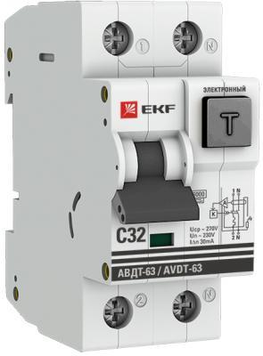 EKF DA63-32-30e Дифференциальный автомат АВДТ-63 32А/30мА (хар-ка C, электронный тип A) 6кА EKF PROxima