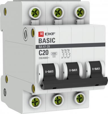 EKF mcb4729-3-20C Автоматический выключатель 3P 20А (C) 4,5кА ВА 47-29 EKF Basic