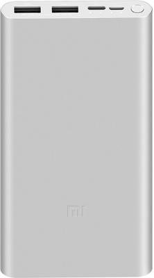 Мобильный аккумулятор Xiaomi Mi Power Bank 3 PLM13ZM Li-Pol 10000mAh 2.4A серебристый 2xUSB