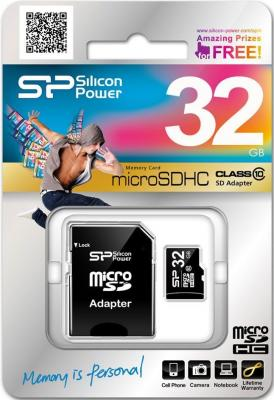 Карта памяти MicroSDHC 32GB Silicon Power Class10 + 1 Adapter