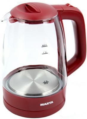 Чайник электрический Marta MT-1077 2250 Вт бордовый гранат 1.7 л пластик/стекло
